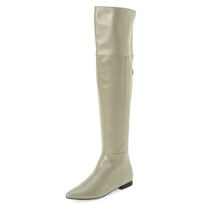 Light Grey Flat Thigh High Boots Pointy Toe Long Boots by FSJ