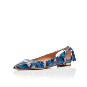 Blue Pointy Toe Flats évider Talons glands Python