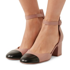 Nude Strap Ankle Strap Vintage Chunky Talons Chaussures Femme