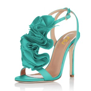 Turquoise Heels Satin Stiletto Heel Flower Evening Shoes for Prom