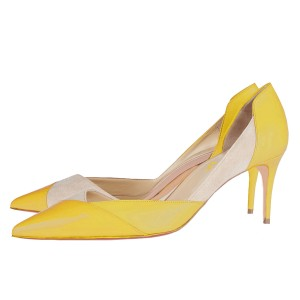 Yellow Kitten Heels Pointy Toe Dorsay Pumps for Ladies