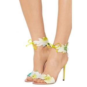 Lime Vegan Shoes Feuilles Style Open Toe Tie up Sandales à talons aiguilles