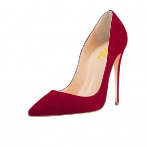 Red Suede Shoes Pointy Toe Stiletto Heel Pumps for Office Lady