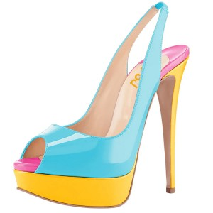 Light Blue Patent Leather Slingback Pumps Peep Toe Stiletto Heel Pumps