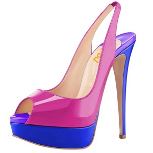 Magenta and Royal Blue Slingback Heels Peep Toe Heels Platform Pumps