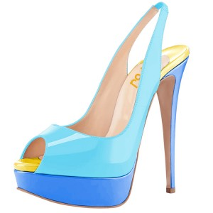 Blue Patent Leather Platform Heels Slingback Pumps Peep Toe Pumps