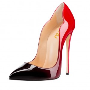 Red and Black Office Heels Pointed Toe Stilettos Pumps