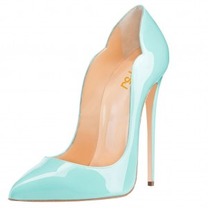 Turquoise Heels Patent Leather Stilettos Pumps for Office Lady