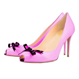 Orchid Peep Toe Heels 4 Inch Stilettos Pumps with Bow
