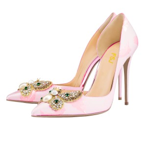 Talons de mariage rose strass satin bout pointu pompes d'orsay