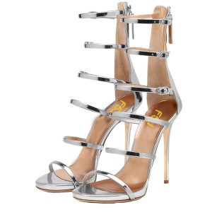 Silver Gladiator Heels Mirror Leather Open Toe Stiletto Heel Sandals
