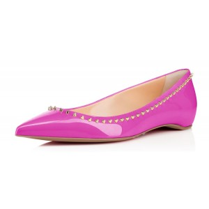 FSJ Fuchsia Patent Leather Pointy Toe Flats Rivets Dressy Flats