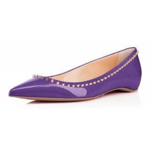 Viola Purple Pointy Toe Flats Des appartements confortables avec rivets