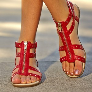 Women's Red Open Toe with Metal Sandals Comfortable Flats