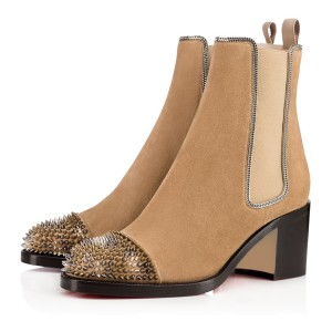 Khaki Chunky Heel Boots Rivets Round Toe Suede Ankle Boots