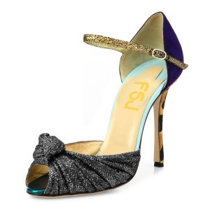 Grey Glitter Evening Shoes Peep Toe Sparkly Sandals with Bow