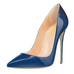 Blue Patent Leather Office Heels Pointy Toe Stiletto Heel Pumps