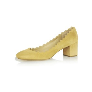 Yellow Suede Chunky Heels Round Toe Curve Pumps for Girls
