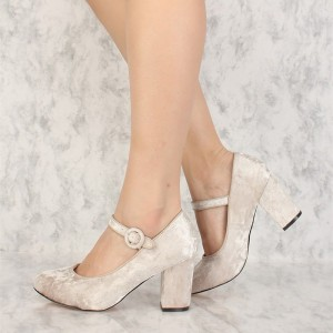 Velours Beige Mary Jane Escarpins bout rond Chaussures à talons chunky