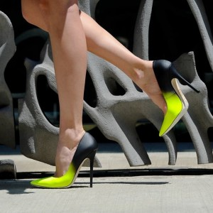 Lime and Black Stiletto Heels Pointy Toe High Heels