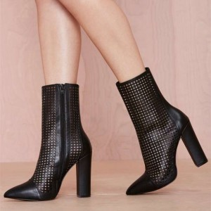 Black Chunky Heel Boots Hollow Out Pointy Toe Ankle Boots