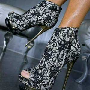 Black Lace Fashion Boots Peep Toe Stiletto Heels Platform Ankle Boots