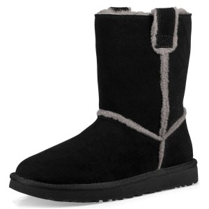 Black Furry Winter Boots Flat Ankle Boots