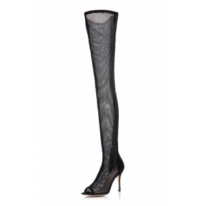 Black Long Boots Nets Stiletto Heel Thigh-high Boots