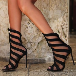 Black Peep Toe Mesh Summer Boots Stiletto Heels Sandals