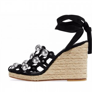 Black Studs Wedge Sandals Sandales à plateforme avec bride
