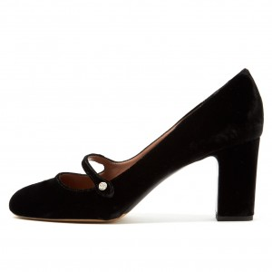 Talons chunky noirs en velours Mary Jane Pumps Vintage Shoes
