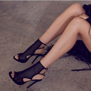 Black Suede Net Buckles Stiletto Heels Sandals Hollow out Summer Boots