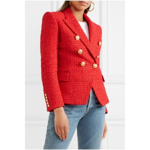 Blazer Fashion Femme Rouge à double boutonnage