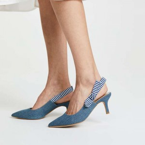 Blue Denim Slingback Pumps Talons pointus à bout pointu avec nœud