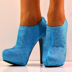 Strass bleu bottes stiletto bottines plateforme satin