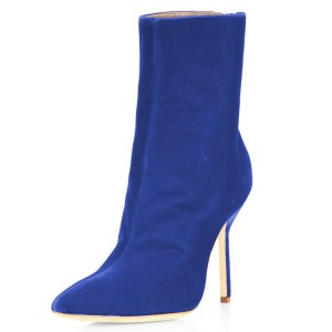 Bottines FSJ Royal Blue Velvet à bout pointu à la cheville