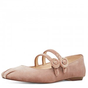 Blush Velvet Buckles Ballet Toe Chaussures à deux sangles Mary Jane