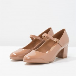 Blush Mary Jane Pumps Chaussures de bureau à talons en cuir verni