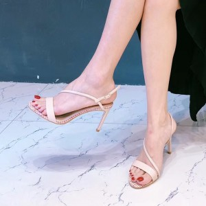 Blush Open Toe Stiletto Heels Sandales à bride à la cheville pour femme