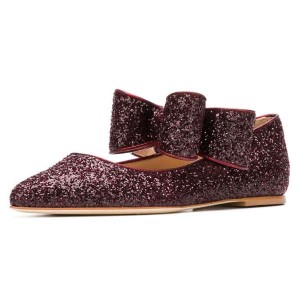 Brown Glitter Bow Toe Toe confortable appartements