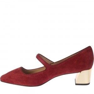 Maroon Mary Jane Pumps Block Heel Chaussures Vintage