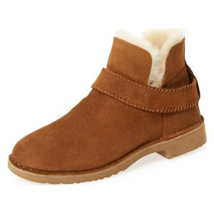 Camel Winter Boots Flat Round Toe Suede Comfy Short Boots US Size 3-15