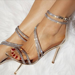 Champagne Evening Shoes Rhinestone Sandals Open Toe Stiletto Heels