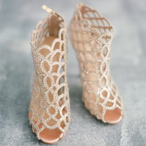 Chaussures de mariage champagne strass mariée talons sandales cage