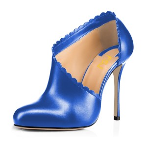 Women's Blue Summer Boots Commuting Stiletto Heels Round Toe  Ankle Booties