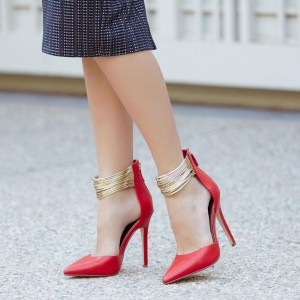 Coral Red Gold Ankle Strap Heels Pointed Toe Stiletto Heels Pumps