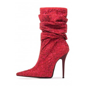 Bottes Slouch Rouges à bout pointu Strass Hotfix Stiletto Booties
