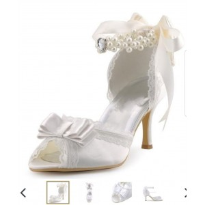 Custom Made White Lace and Satin Bow Detailed Wedding Shoes