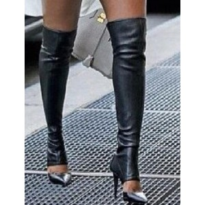 Custom Made Black Cut Out Over Knee Boots