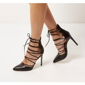 Custom Made Black Lace up Pointy Toe Pumps